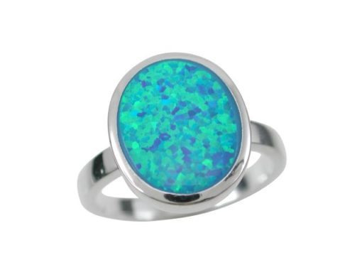 Sterling Silver 14mm Oval Blue Synthetic Opal Ring