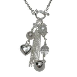 Sterling Silver 10mm Created Pearl & Crystal With 60mm Silver Charms And Chain Dangles On Fob Chain Necklet 45cm