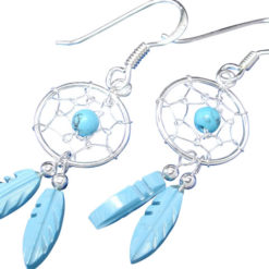 Sterling Silver 27x12mm Blue Turquoise Double Feather Dream Catcher Drop Earrings