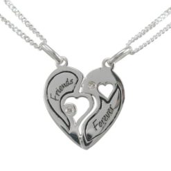 Sterling Silver 18mm White Cubic Zirconia Heart *friends Forever* Break Necklet (includes 2 Chains) 40-45cm