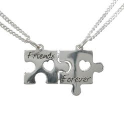 Sterling Silver 25x15mm Jigsaw *friends Forever* Break Necklet (includes 2 Chains) 40-45cm