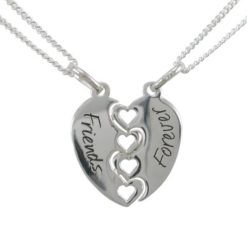 Sterling Silver 18mm Heart *friends Forever* Break Necklet (includes 2 Chains) 40-45cm