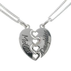 Sterling Silver 18mm Heart *mother & Daughter* Break Necklet (includes 2 Chains) 40-45cm