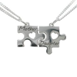 Sterling Silver 25x15mm Jigsaw *mother & Daughter* Break Necklet (includes 2 Chains) 40-45cm