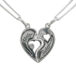 Sterling Silver 18mm White Cubic Zirconia Heart *sisters* Break Necklet (includes 2 Chains) 40-45cm