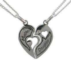 Sterling Silver 18mm White Cubic Zirconia Heart *mother & Daughter* Break Necklet (includes 2 Chains) 40-45cm
