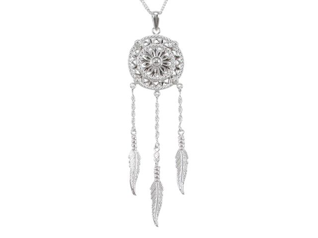 Sterling Silver 75x22mm Dream Catcher Necklet 45-50cm