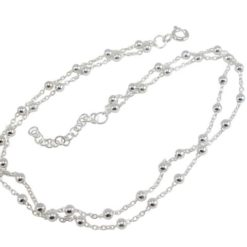 Sterling Silver 2.5mm Ball Double Stand Bracelet / Anklet 23-26cm