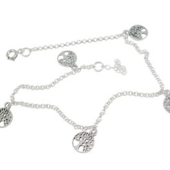 Sterling Silver 8mm Tree Of Life Bracelet / Anklet 22-24cm