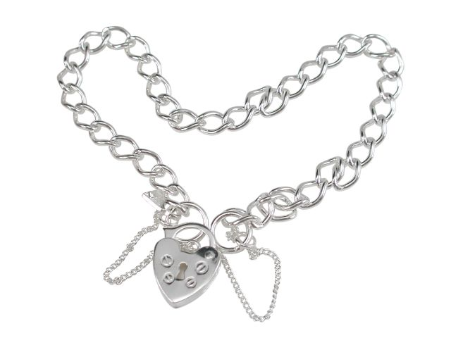 Sterling Silver Twisted Curb Link Padlock Bracelet (ideal For Charms) 19cm