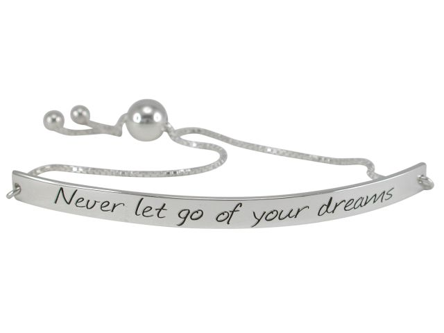 Sterling Silver 6mm *never Let Go Of Your Dreams* Slider Bracelet 19-23cm