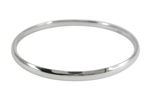 Sterling Silver 5mm Solid Half Round Golf Bangle 68mm