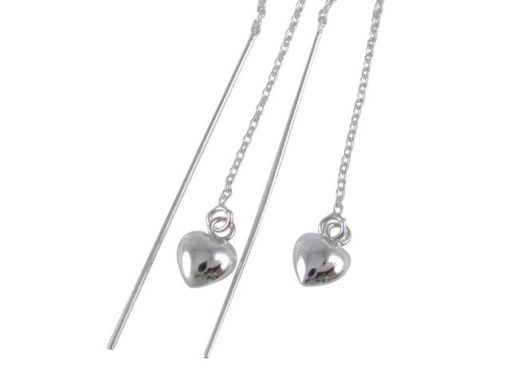 Sterling Silver 6mm Heart & 40mm Bar 50mm Long Thread Earrings