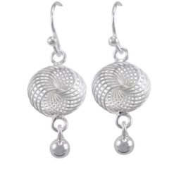 Sterling Silver 20x12mm Spiral & Ball Drop Earrings
