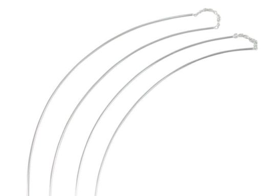 Sterling Silver 80mm Curved Wire Thread Earrings