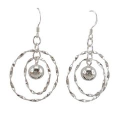 Sterling Silver 26mm Twisted Circles And Ball Drop Earrings