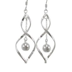 Sterling Silver 36x14mm Twist & Dangling Ball Drop Earrings