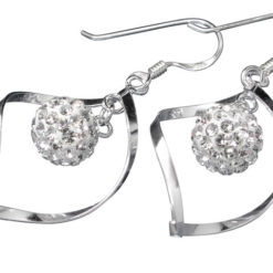Sterling Silver 25x17mm White Crystal Infinity Ball And Twist Drop Earrings