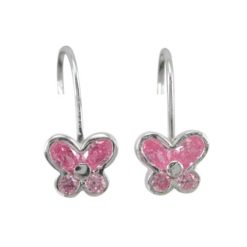 Sterling Silver 8mm Pink Cubic Zirconia Butterfly Spring Hook Earrings