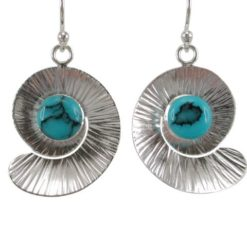 Sterling Silver 21x18mm Blue Turquoise Spiral Drop Earrings