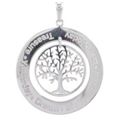 Sterling Silver 33mm Tree Of Life *treasure - Yesterday -dream Of Tomorrow - Live Today* Pendant