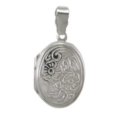 Sterling Silver 21x16mm Oval Engraved Locket Pendant