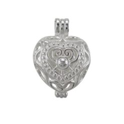 Sterling Silver 20mm Filigree Heart Opening Pendant (can Hold Coloured Cubic Zirconia Stones)