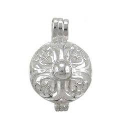 Sterling Silver 18mm Round Filigree Opening Pendant (can Hold Coloured Cubic Zirconia Stones)