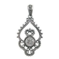 Sterling Silver 35x24mm White Cubic Zirconia Gypsy Style Pendant