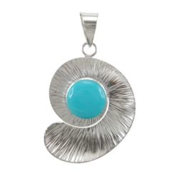 Sterling Silver 29x24mm Blue Turquoise Spiral Pendant