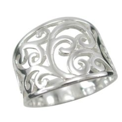 Sterling Silver 15mm Tapered Floral Pattern Ring