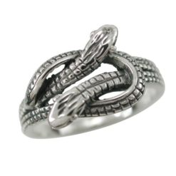 Sterling Silver 10mm Crossover Snake Ring