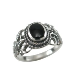 Sterling Silver 9mm Oval Black Onyx Antique Style Ring