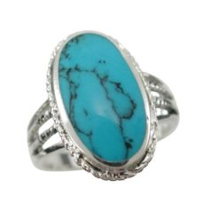 Sterling Silver 19mm Oval Blue Turquoise Ring