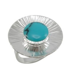 Sterling Silver 23mm Round Blue Turquoise Ring