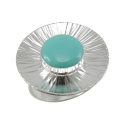 Sterling Silver 23mm Round Green Turquoise Ring