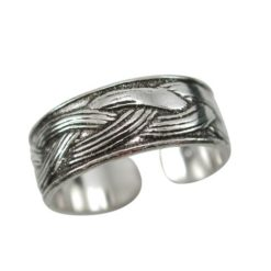 Sterling Silver 6mm Oxidised Weave Pattern Toe Ring