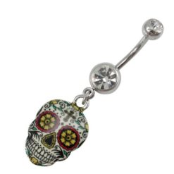 Surgical Steel White Crystal & Sugar Skull Banana 1.5x10x16