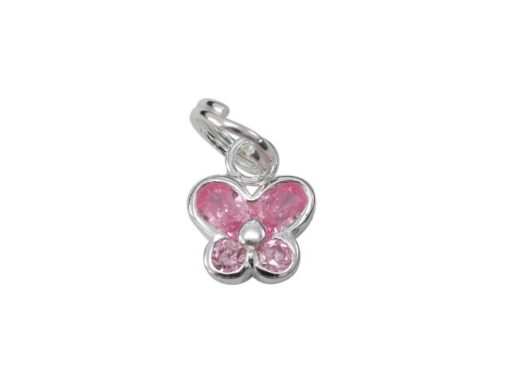 Sterling Silver 8mm Pink Cubic Zirconia Butterfly Charm With Split Ring