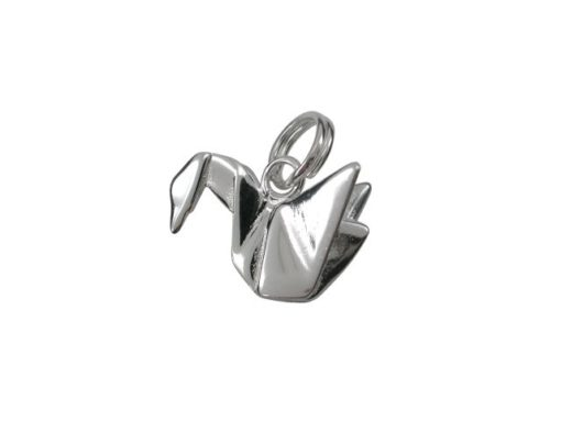 Sterling Silver 15x10mm Origami Swan Charm With Split Ring