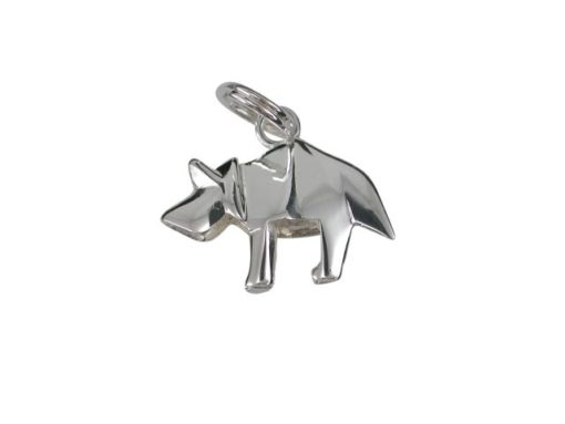 Sterling Silver 16x10mm Origami Dinosaur Charm With Split Ring