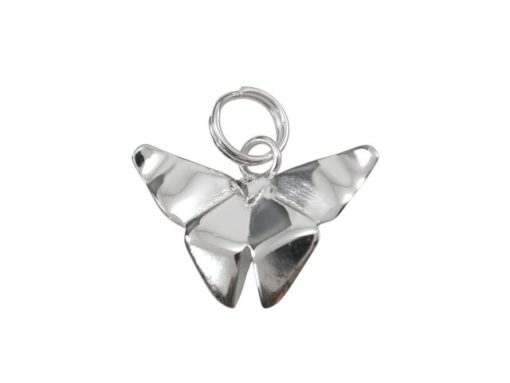 Sterling Silver 17x11mm Origami Butterfly Charm With Split Ring