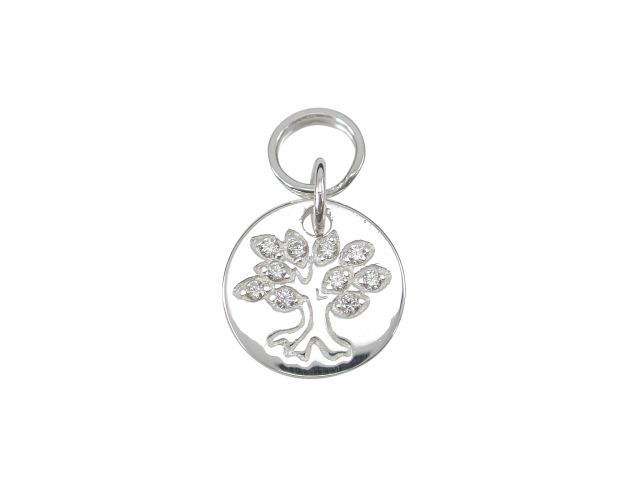 Sterling Silver 11mm White Cubic Zirconia Tree Of Life Charm With Split Ring
