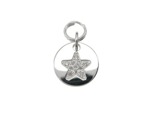 Sterling Silver 11mm White Cubic Zirconia Star Charm With Split Ring