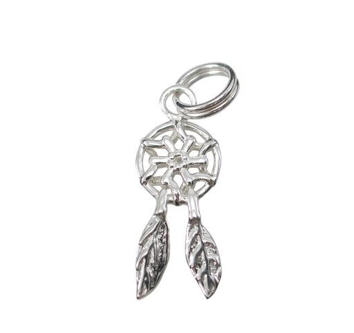 Sterling Silver 16x8mm Dream Catcher Charm With Split Ring