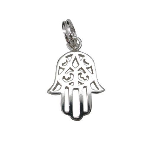Sterling Silver 15x12mm Hamsa Hand (hand Of Miriam) Charm With Split Ring
