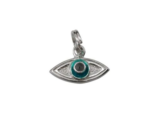 Sterling Silver 15x7mm Enamel Evil Eye Charm With Split Ring
