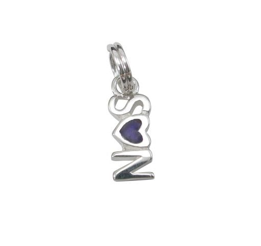 Sterling Silver 11x5mm Enamel *son* Charm With Split Ring
