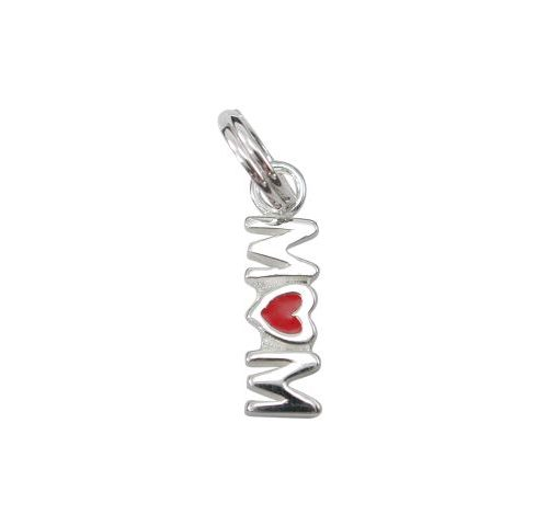 Sterling Silver 12x4mm Enamel *mum* Charm With Split Ring