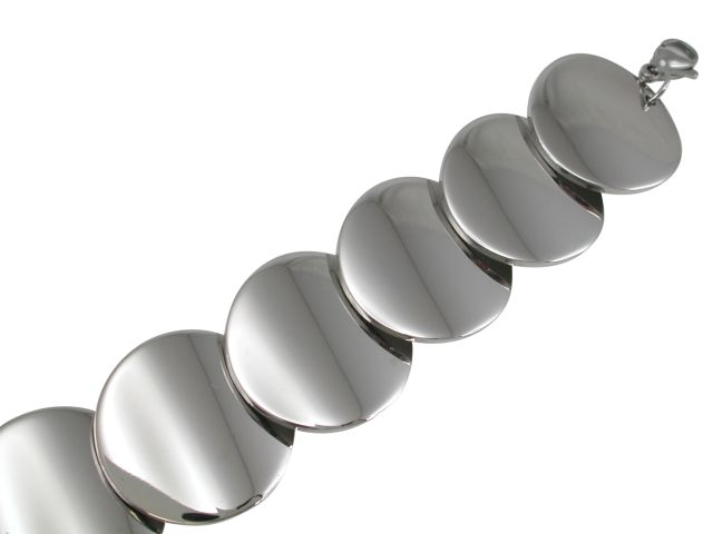 Stainless Steel 25mm Circles Bracelet 17-19cm
